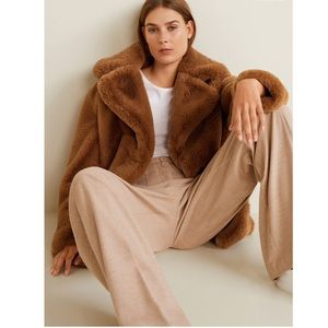 🎊HOST P🎊MANGO FAUX FUR CHILLYN TEDDY COAT COGNAC
